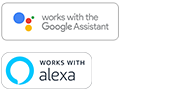 Logotipos del Asistente de Google y Amazon Alexa integrados