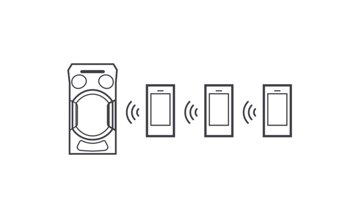 Smartphone conectado sin cables al MHC-V21D